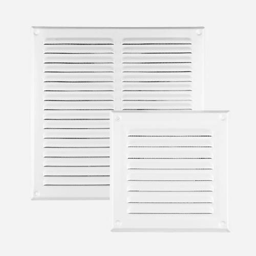 Mřížka větrací KOV se síťovinou, 125 mm x 295 mm, bílá