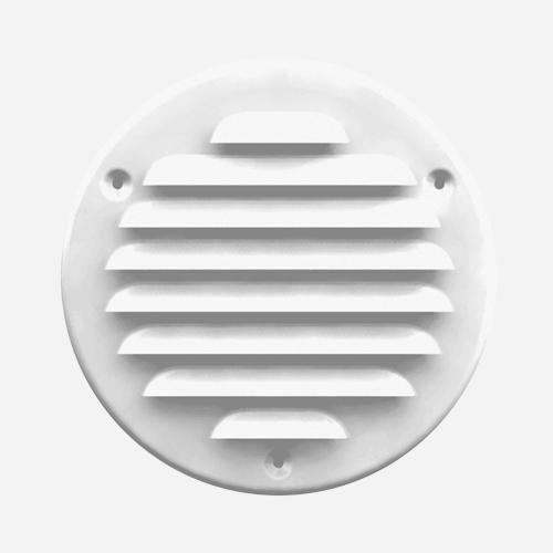 Mřížka větrací kruhová KOV se síťovinou, průměr 155 mm / 125 mm, bílá
