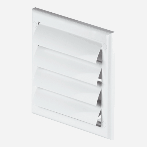 Mřížka větrací s lamelou, průměr 125 mm, 190 mm x 190 mm, bílá