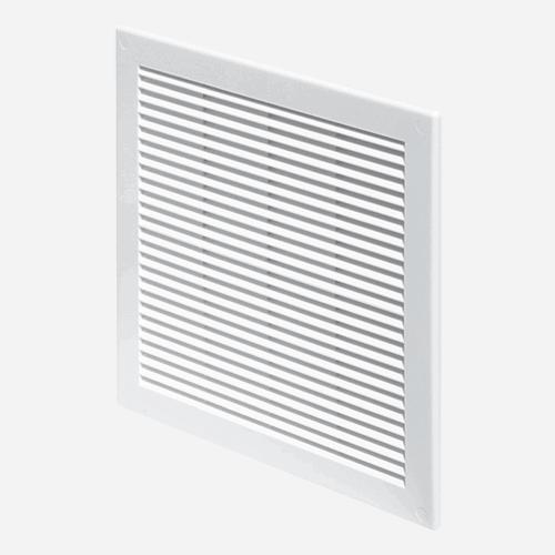 Mřížka větrací se síťovinou, 200 mm x 200 mm, plastová, bílá