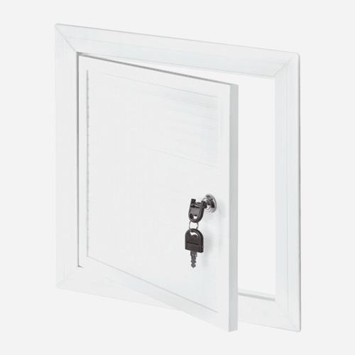 Revizní dvířka PVC, 400 mm x 400 mm, se zámkem a klíčem, bílá