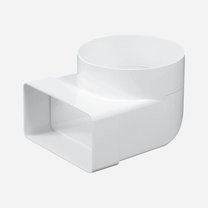 Článek přechodový – koleno 90°, průměr 100 mm, 55 mm x 110 mm, plastový