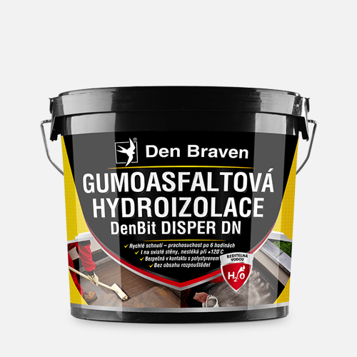 Gumoasfaltová hydroizolace DenBit DISPER DN, kbelík 10 kg, černá
