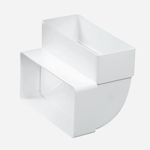 Koleno vertikální ploché 90°, 55 mm x 110 mm, plastové