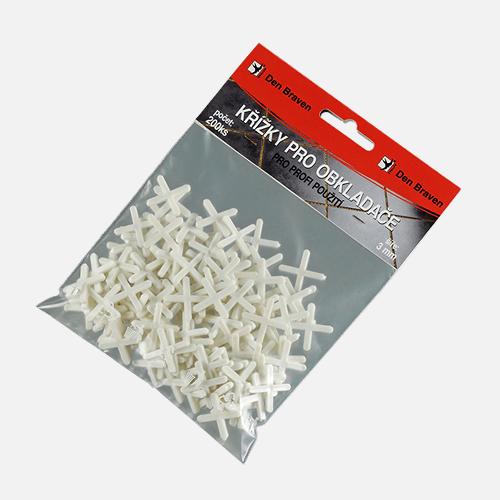 Křížky pro obkladače, 2 mm, 200 ks, bílé