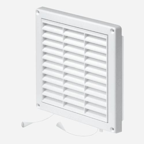 Mřížka větrací s rámem a žaluzií, 130 mm x 130 mm, plastová, bílá