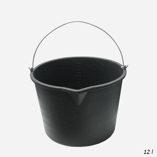 Vědro stavební s výlevkou, 12 litrů, plastové, černé