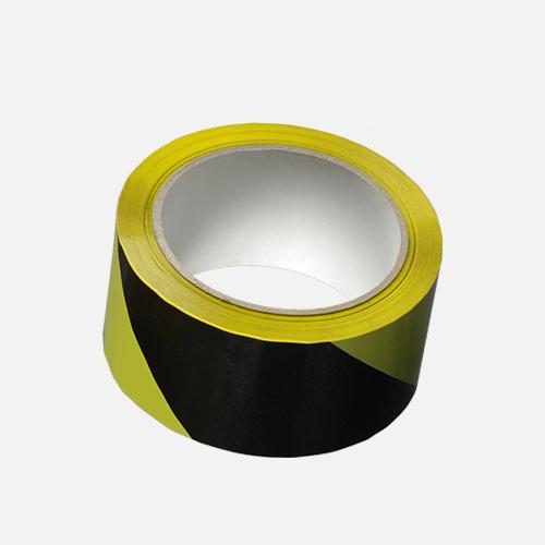 Lepicí páska výstražná, 50 mm x 66 m, černo žlutá, levá